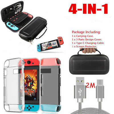 Accessories Case Bag+Shell Cover+Charging Cable+Protector for Nintendo Switch UK