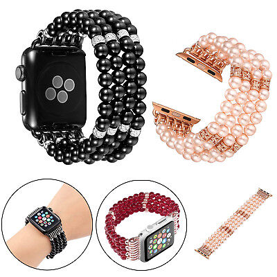 Pearl Bling Agate Beads Band Bracelet Strap for Apple iwatch 3/2/1 38 42mm