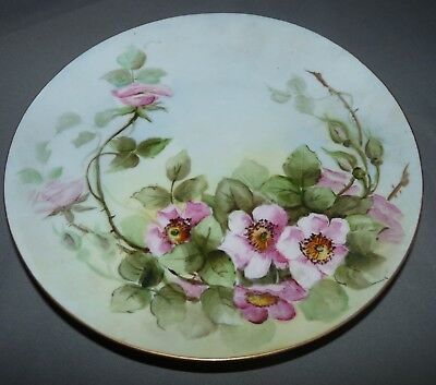 Bavaria Porcelain Plate Hand Painted Pink Flowers 1902 Antique Germany