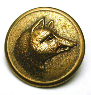 BB Antique Brass Sporting Button Fox Head Design -  1""