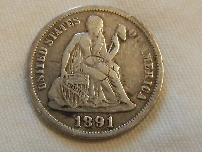 1891 seated liberty dime ten cent silver coin