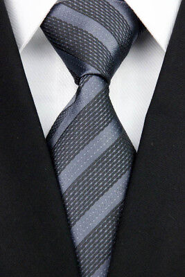 Gray Black Stripe Man Classic JACQUARD Woven Necktie Formal Tie