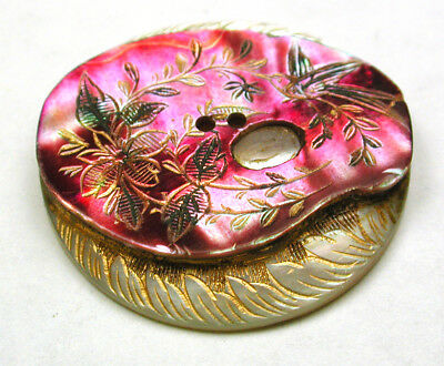 Antique Iridescent Shell Button Etched Painters Palette w/ Gold luster 1 & 1/16""