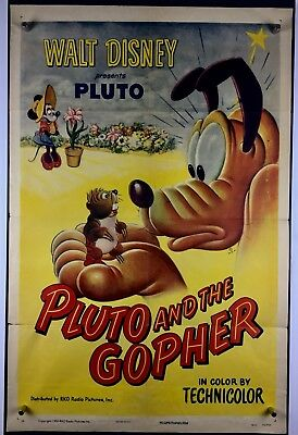 PLUTO GOPHER Movie Poster (VeryGood+) One Sheet 1950 Walt Disney Mickey Mouse