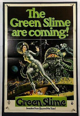 GREEN SLIME IS COMING Movie Poster (Good+) One Sheet '69 Sci-Fi Horror Spoof 571