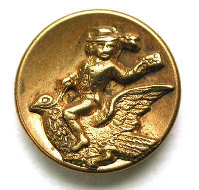 BB Antique Brass Button Mail Man on Bird Carrying a Letter - 5/8""