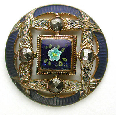 BB Antique Pierced French Enamel Button Flowers Cut Steel Accents - 1 & 1/16""