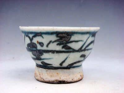 Antique Blue&White Glazed Porcelain Bamboo Hand Painted Tea Cup #12041801