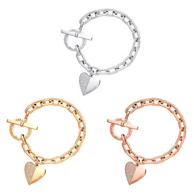 Women Stainless Steel Heart Style Charm Bracelet Chain Silver/Gold Jewelry Gift