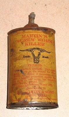 Martins Screw Worm Killer Austin TX EARLY Lead Spout Handy Oiler Bug Poison Tin