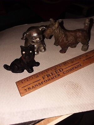 OLD AND RARE PUPPY dog CAST IRON ADVERTISING  BUCKY gift RIBBONS, and 2 more