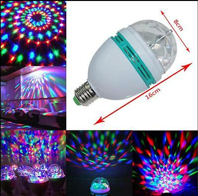 3W E27 Crystal Magic Ball Rotating Disco DJ RGB LED Stage Lamp Light Bulb Q