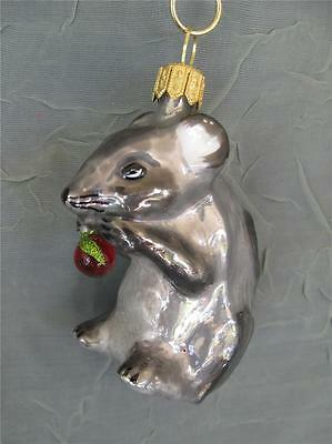 Nordstrom Mouse With Berry - Blown Glass Christmas Ornament - New Made In Poland