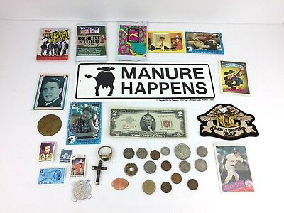 Junk Draw Silver Coins Indian Barber US Currency Cards Stamps Harley Whorehouse