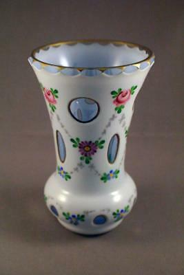 Antique Continental Cut Cased Glass Floral Vase - Perfect