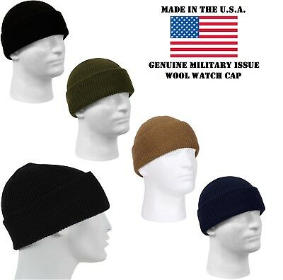 93ecda1e9907ce Genuine Military Issue 100% Wool Watch Cap Beanie Cap Made In The U.S.A.