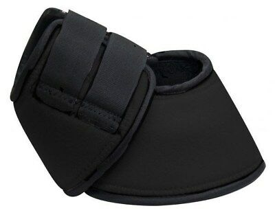 Showman LARGE BLACK Neoprene No Turn Horse Bell Boots w/ Velcro! NEW HORSE TACK!