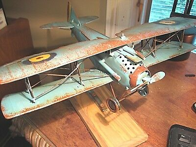 Vintage Style  Metal Bi-Plane  Mounted  Military Aircraft Decor Model Airplane