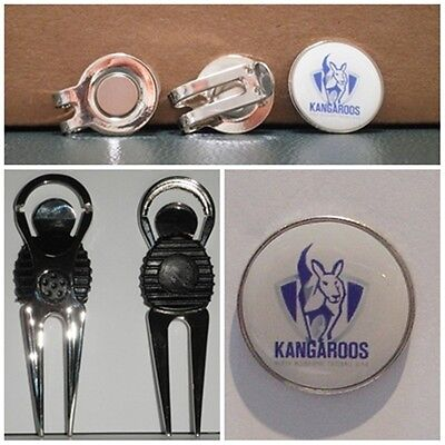 2 only NORTH MELBOURNE KANGAROOS GOLF BALL MARKERS- NICE  DIVOT TOOL &  HAT CLIP