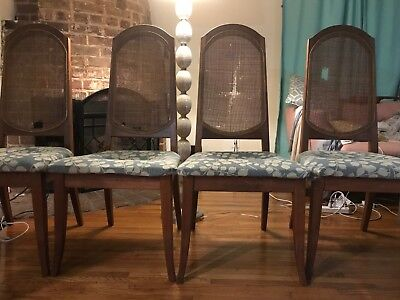 4 Mid-Century Modern Brown Saltman Cane Back Dining Chairs