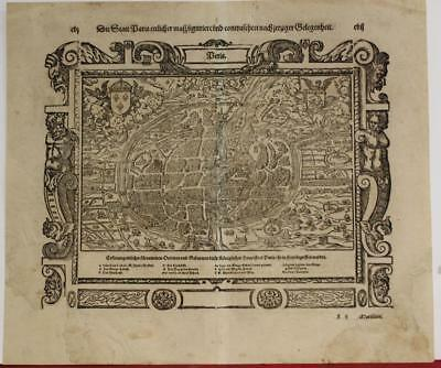 Paris France 1574 Sebastian Münster Unusual Antique Original Woodcut City View