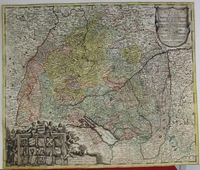 Swabia Germany & Switzerland 1742 Probst Unusual Antique Copper Engraved Map
