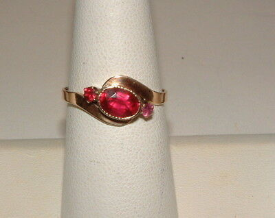 Antique Victorian 18K Yellow Gold Bypass Setting W Rubies Ring GORGEOUS Size 7