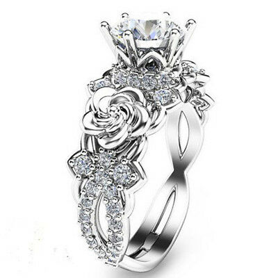 Charm White Sapphire Claw Ring 925 Silver Bridal Wedding Floral Rings Size6-10