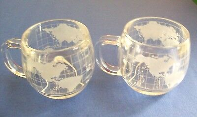 2 1970's Nescafe Nestle Cups/Mugs w/Heavy Glass Frosted World Map Globe 8oz. EXC