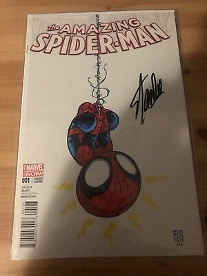 the amazing spider-man 1 (skottie Young Cover) Signed By Stan Lee