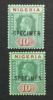 MOMEN: NIGERIA SG #11s,11as SPECIMEN MULT CROWN CA MINT OG H £115 LOT #539