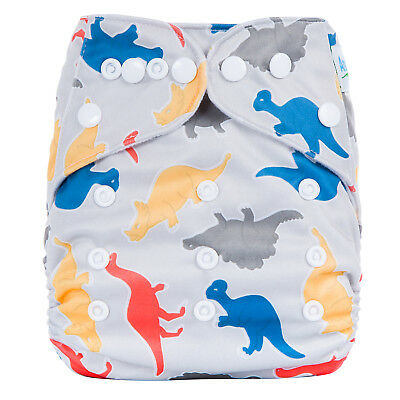 Modern Cloth Reusable Washable Baby Nappy Diaper & Insert, Colourful Grey Dinos