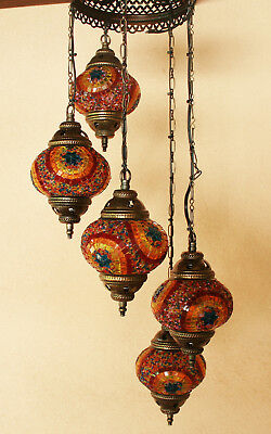 Antique Style Handmade Turkish Mosaic Hanging Five Lamps Vintage Stained Glass