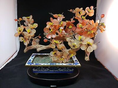 Chinese Large Cloisonne Planter With Jade Flower Tree