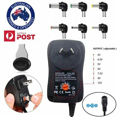 AU Universal Mains AC/DC Power Adaptor Supply Plug Charger 3V 4.5V 7.5V 9V 12V