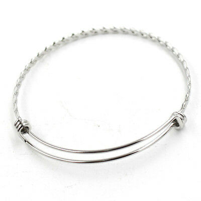 Simple  Fashion Weave Knit Style Stainless Steel Bangle Bracelet Adjustable New