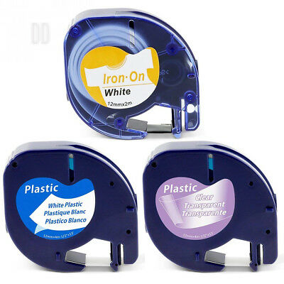 3x Dymo LetraTag Iron-on Fabric + Plastic Labels Tape 12mm, Compatible DYMO...