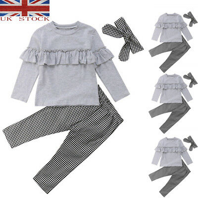 UK 3Pcs Toddler Baby Kids Girl Ruffle Plaid Tops Pants Leggings Outfits Clothes*