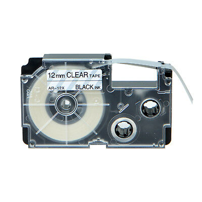 """1PK Compatible Casio XR-12X Black on Clear Label Tape for EZ Printer 12mm 1/2"""""""