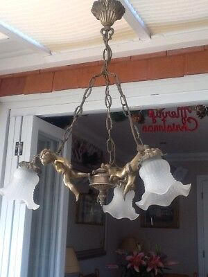 Antique French Solid Brass/Bronze CUPID Ceiling Light