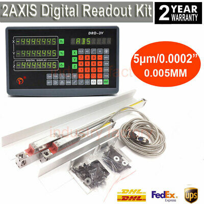 2 Axis Digital Readout TTL Linear Scale 5μm DRO Encoder Ruler For Milling Lathe