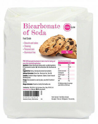 PINK SUN Bicarbonate of Soda 1kg - Edible Food Grade Pure Baking 1000g -...