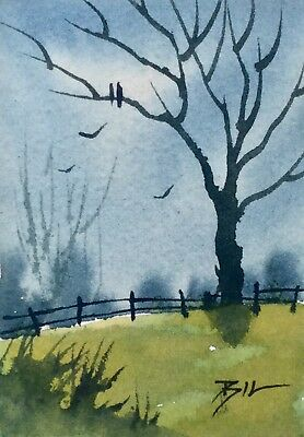 ACEO ATC original art painting by Bill Lupton - Wintertime