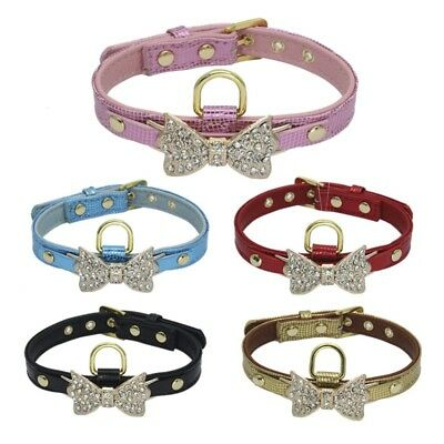 Tiny Pet Dog PU Leather Collar Puppy Cat Buckle Neck Crystal Bowknot Bling Strap