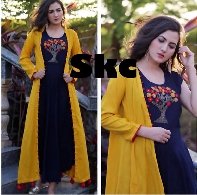 Indian Stylish Rayon Pakistani Kurti Yellow-Black Kurta & Jacket Exclusive Top