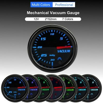 2'' 52mm Universal 7 Color LED Turbo Boost Vacuum Press Gauge Meter Pointer 12V