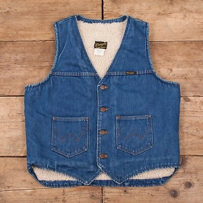 "Mens Vintage Wrangler 1970s Blue No Fault Denim Sherpa Vest USA Large 42"" R10291"