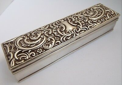 Lovely Decorative English Edwardian Antique 1902 Solid Sterling Silver Table Box