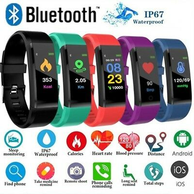 BT Braccialetto da polso Smart Watch Pedometro Sport Fitness Tra-cker ID115 Plus