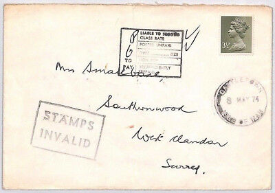 BR101 1974 ISLE OF MAN Attempted GB Machin Usage *STAMPS INVALID* IOM Cover